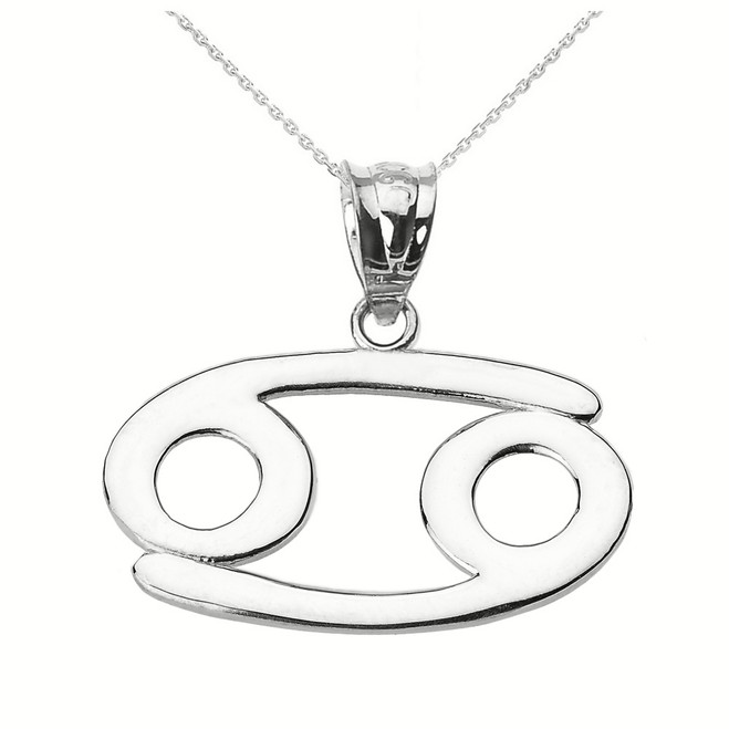 White Gold Cancer July Zodiac Sign Pendant Necklace