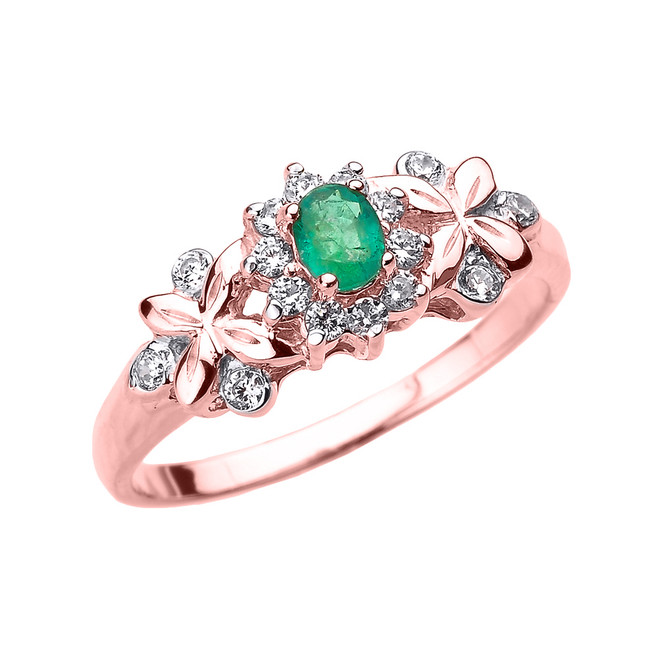 Rose Gold Emerald and Diamond Engagement Ring