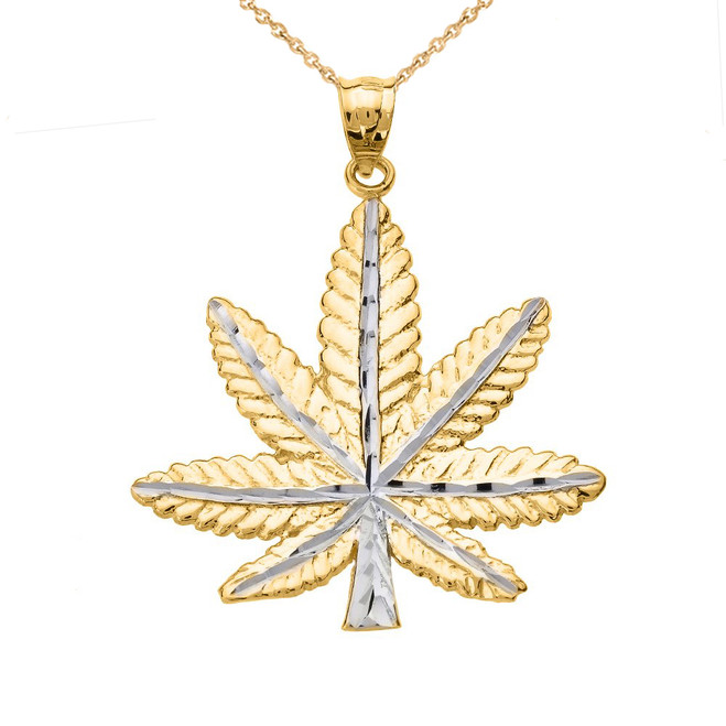 Yellow Gold Marijuana Leaf Cannabis Charm Pendant
