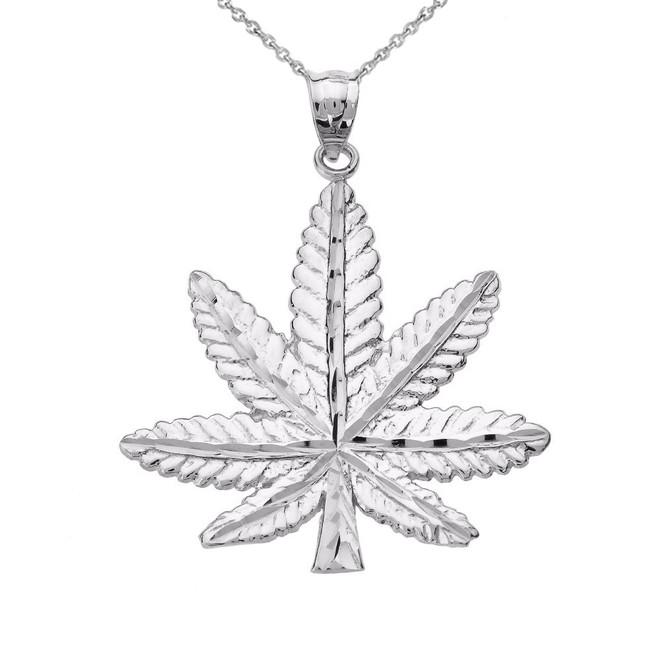 White Gold Marijuana Leaf Cannabis Charm Pendant