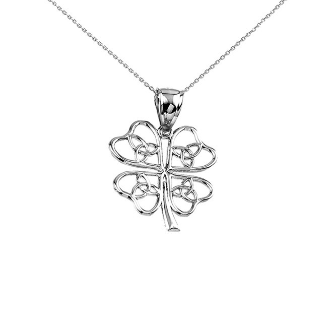 White Gold Celtic Trinity Knot Clover Pendant Necklace