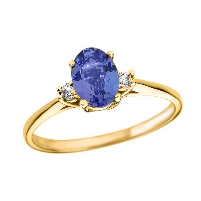Yellow Gold Oval Tanzanite and Diamond Engagement Proposal Ring