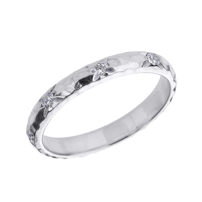 White Gold 3 mm Hammered Stackable Diamond Ring