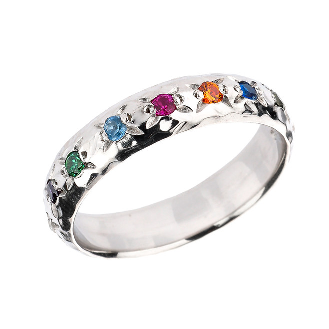 Sterling Silver Hammered Multi-Color CZ Rainbow LGBT Unisex Ring