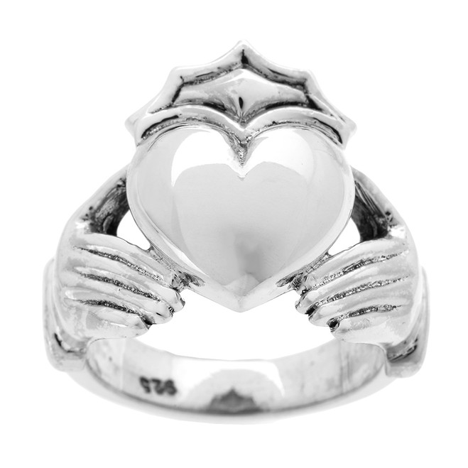 Bold Sterling Silver Men's Heavy Claddagh Ring