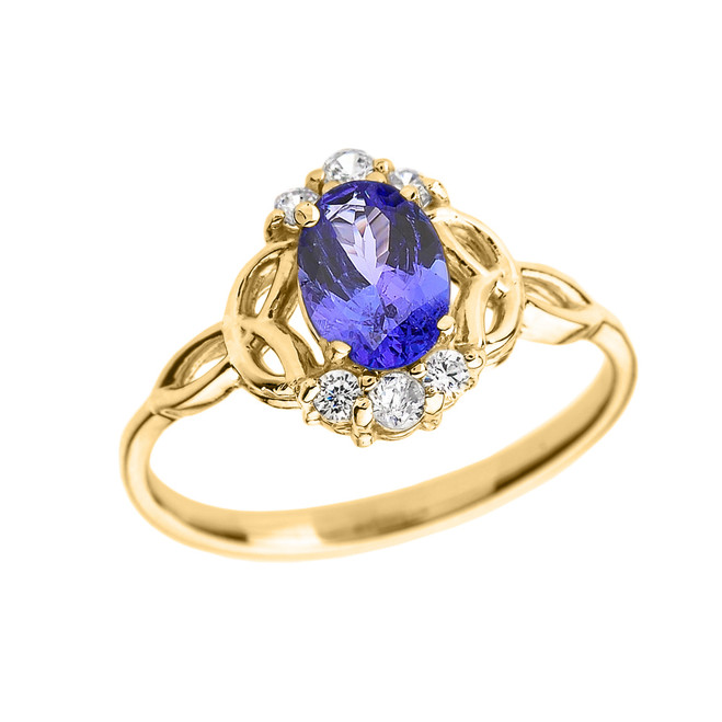 Yellow Gold Tanzanite and Diamond Trinity Knot Proposal Ring