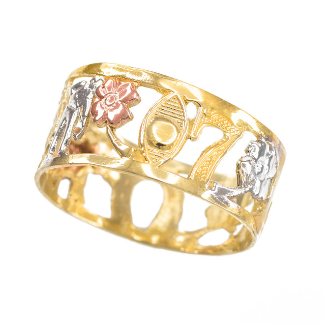 Three-tone Gold Lucky Ring