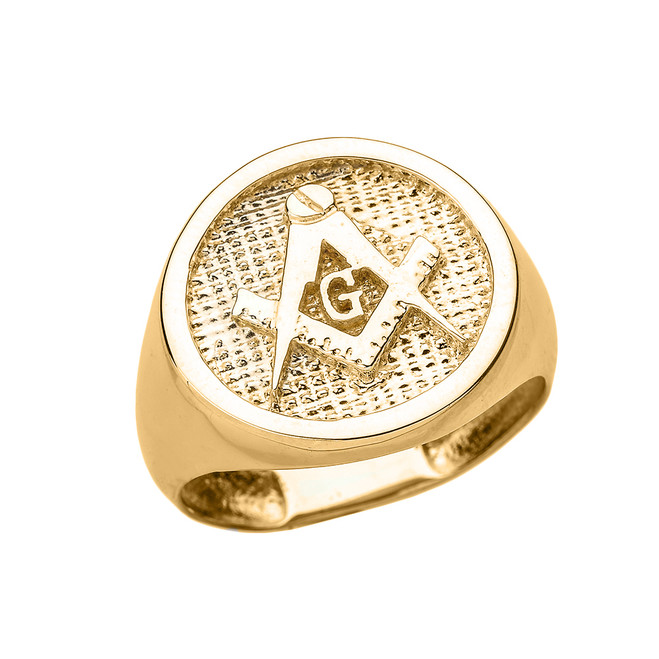 Solid Yellow Gold Square and Compass Masonic Men's Ring