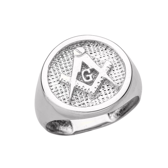 Solid White Gold Square and Compass Masonic Men's Ring