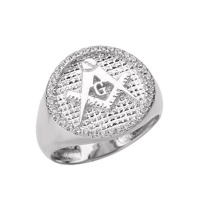 White Gold Masonic Men's Diamond Ring
