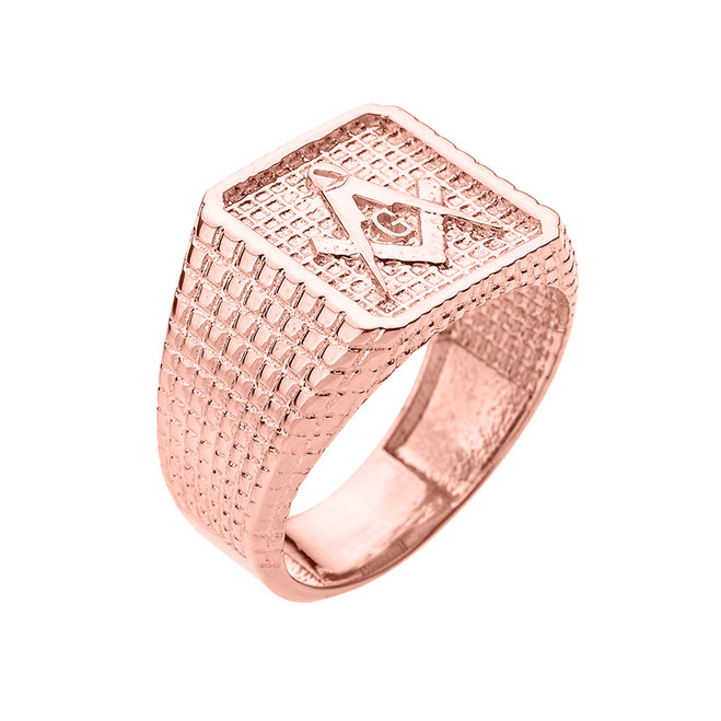 Rose Gold Textured Band Masonic Men's Ring