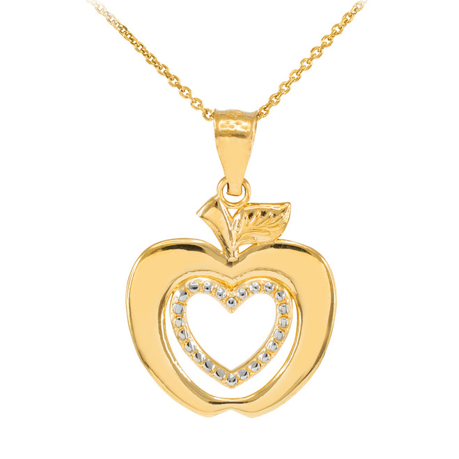 Gold Apple Heart Pendant Necklace