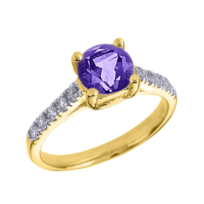 Yellow Gold Diamond and Amethyst Solitaire Engagement Ring