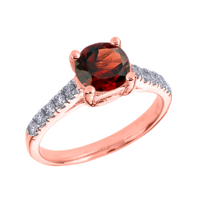 Rose Gold Diamond and Garnet Solitaire Engagement Ring