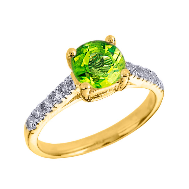 Yellow Gold Diamond and Peridot Solitaire Engagement Ring