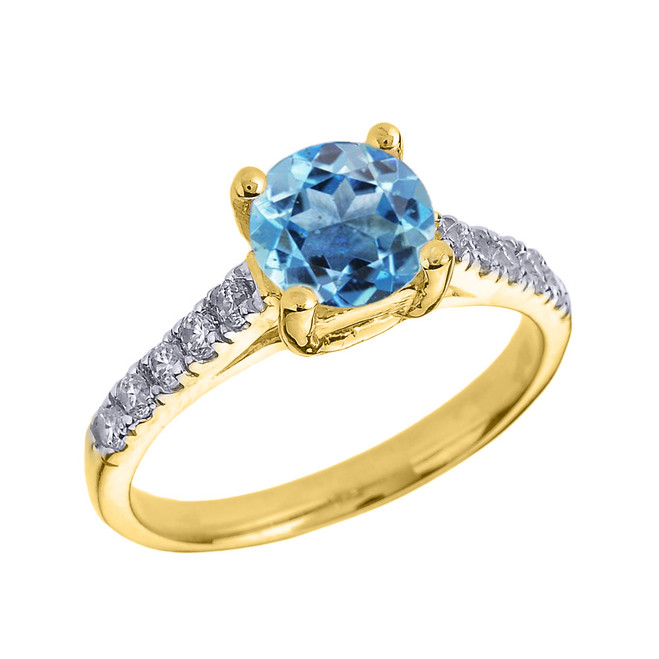 Yellow Gold Diamond and Blue Topaz Solitaire Engagement Ring