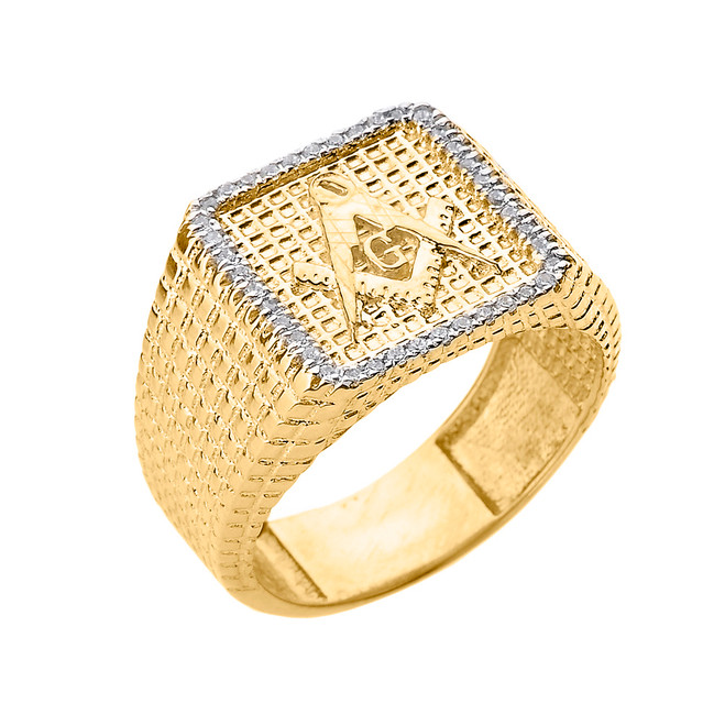 Yellow Gold Textured Band Masonic Men's Diamond Ring