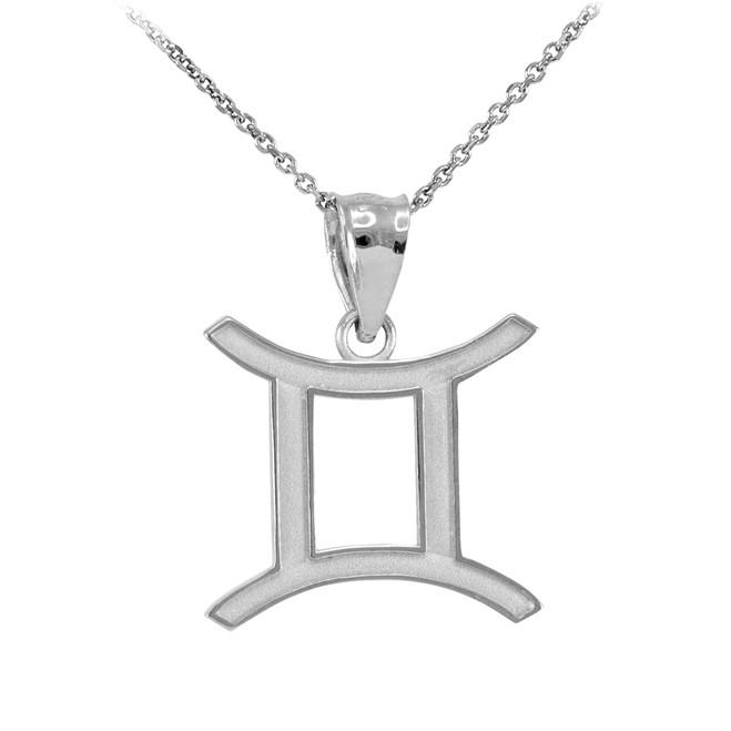 Sterling Silver Gemini Zodiac Sign Pendant Necklace