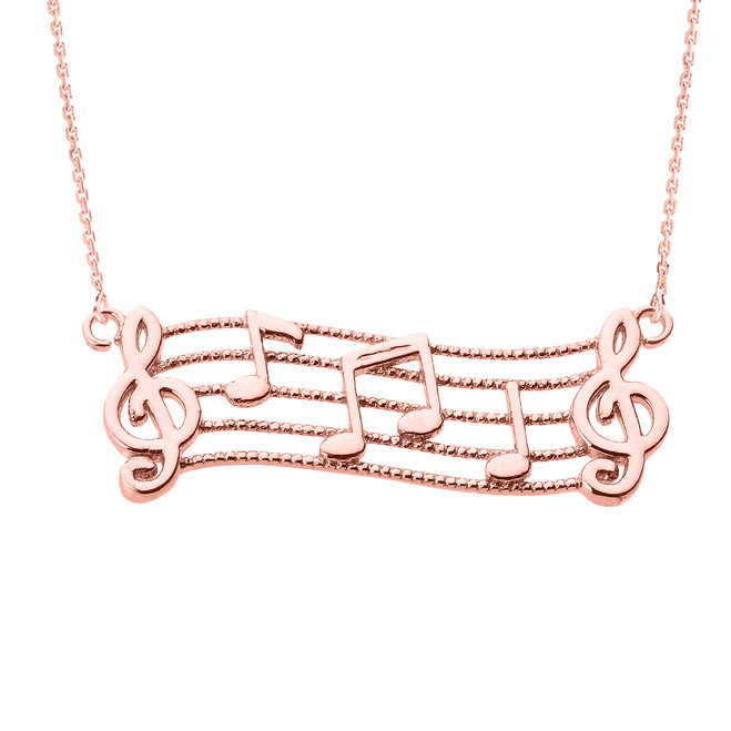 14k Rose Gold Treble Clef with Musical Notes Pendant Necklace