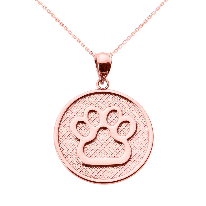 Rose Gold Dog Paw Print Disc Pendant Necklace