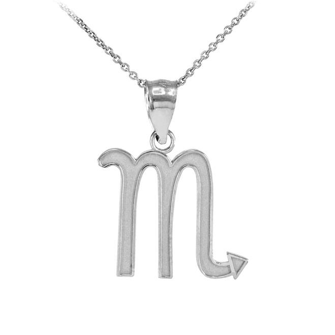 Sterling Silver Scorpio Zodiac Sign Pendant Necklace