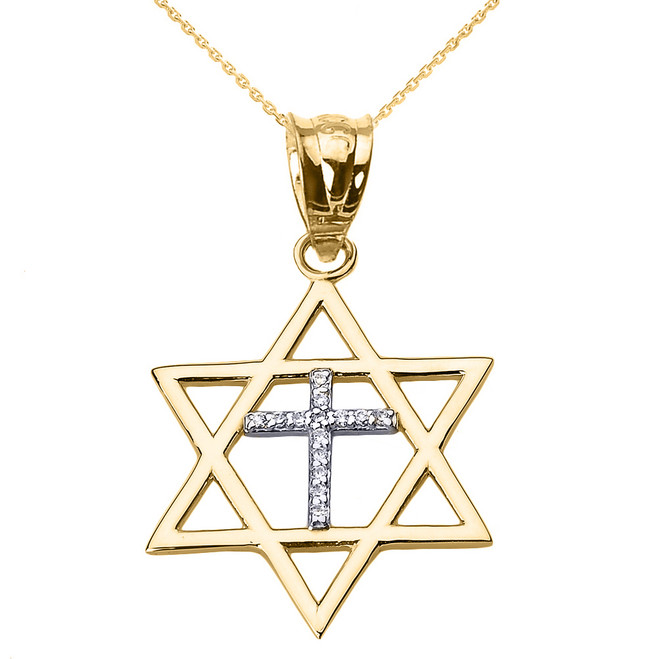 Yellow Gold Star of David with Diamond Cross Pendant Necklace