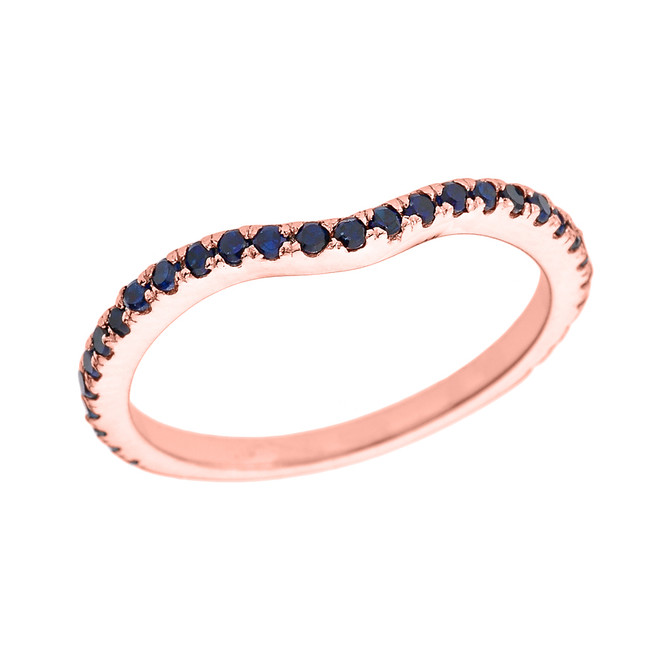 14k Rose Gold Chevron Stackable Blue CZ Wedding Band