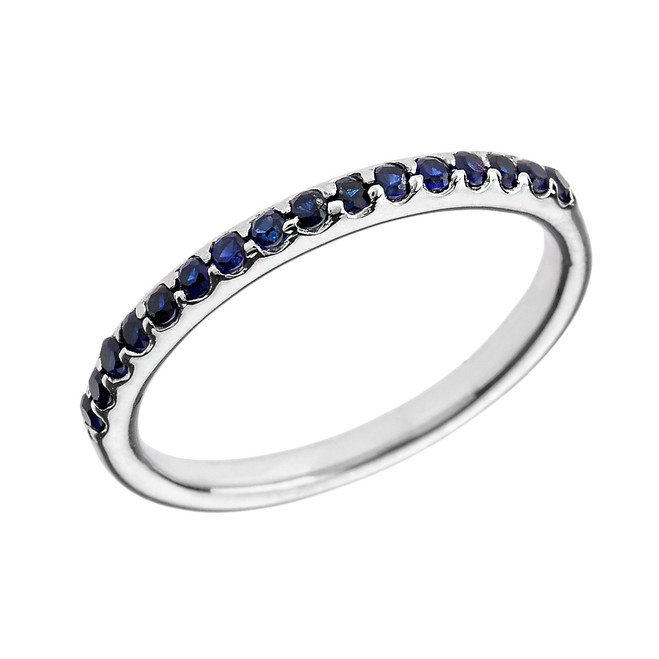 14k White Gold Blue CZ Stackable Wedding Band