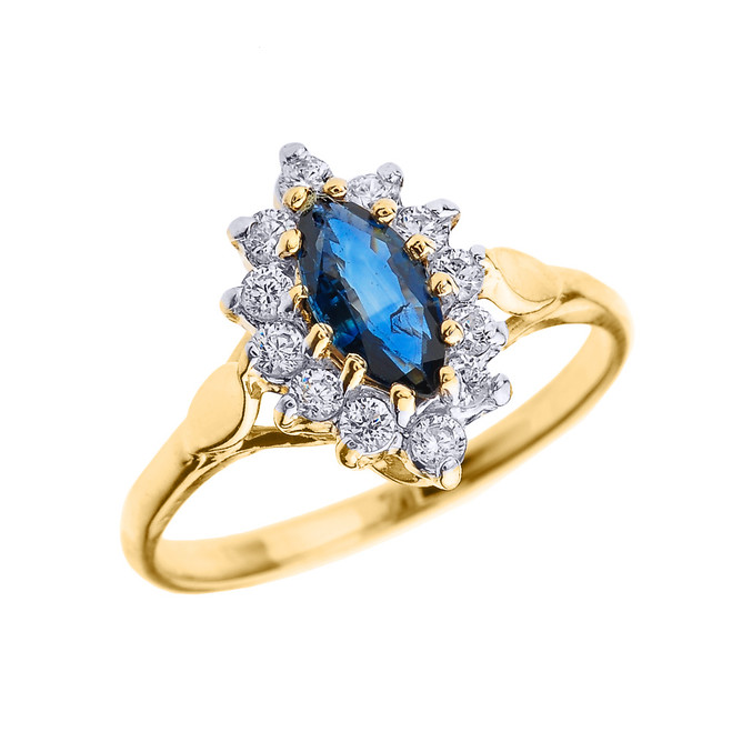 Yellow Gold Diamond and Marquise Sapphire Proposal Engagement Ring