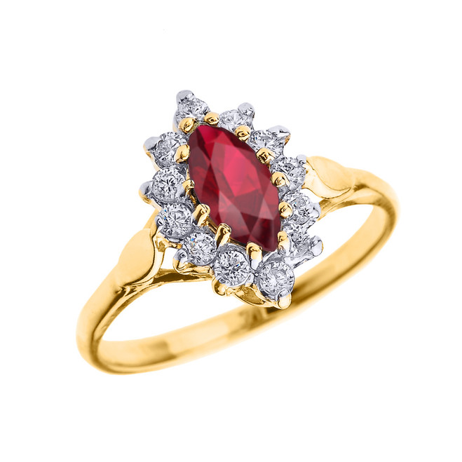 Yellow Gold Diamond and Marquise Ruby Proposal Engagement Ring