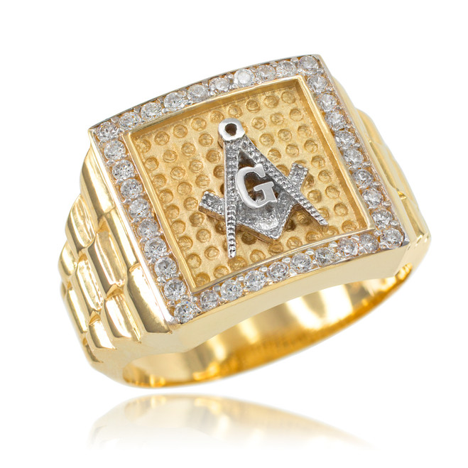 Gold Watchband Design Men's Masonic CZ Ring