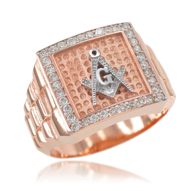 Rose Gold Watchband Design Men's Masonic CZ Ring