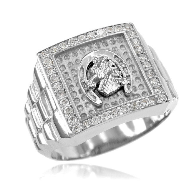 White Gold Watchband Design Men's Horseshoe CZ Ring