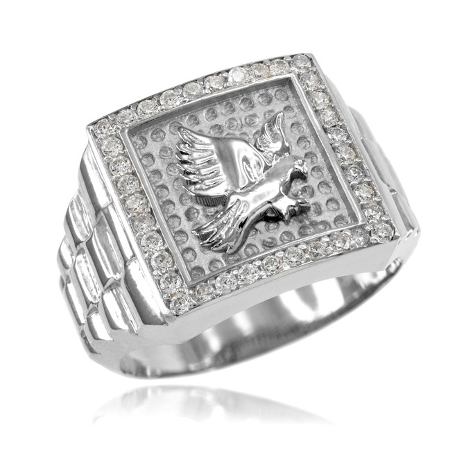 White Gold Watchband Design Men's Eagle CZ Ring
