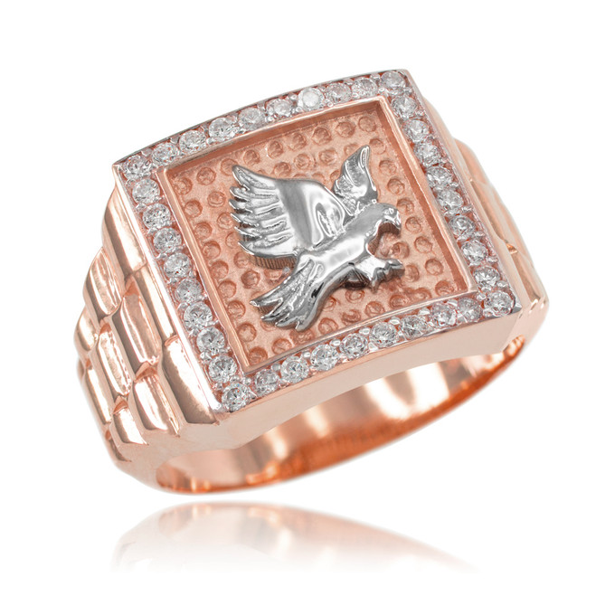 Rose Gold Watchband Design Men's Eagle CZ Ring