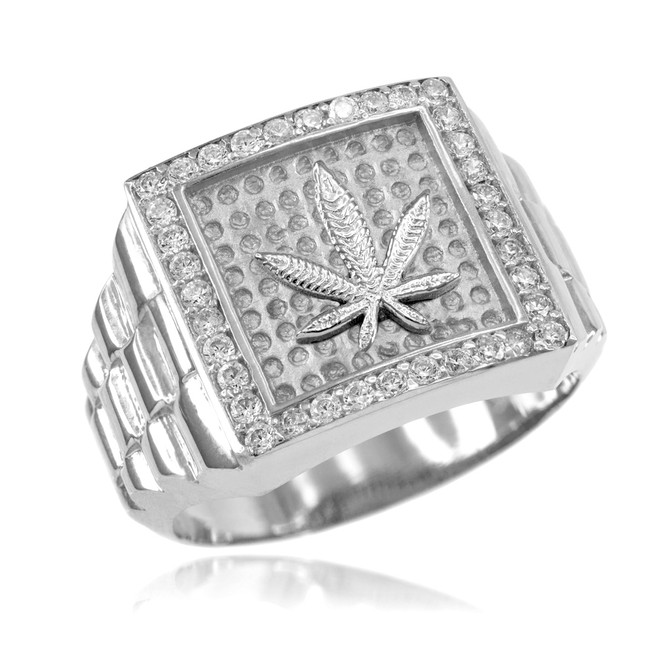 White Gold Watchband Design Men's Marijuana CZ Ring