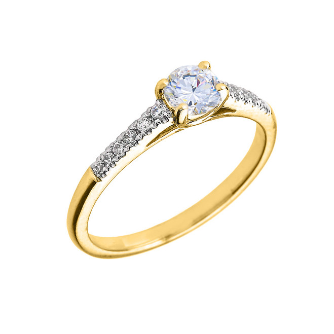 Yellow Gold Diamond and White Topaz Engagement Proposal Ring
