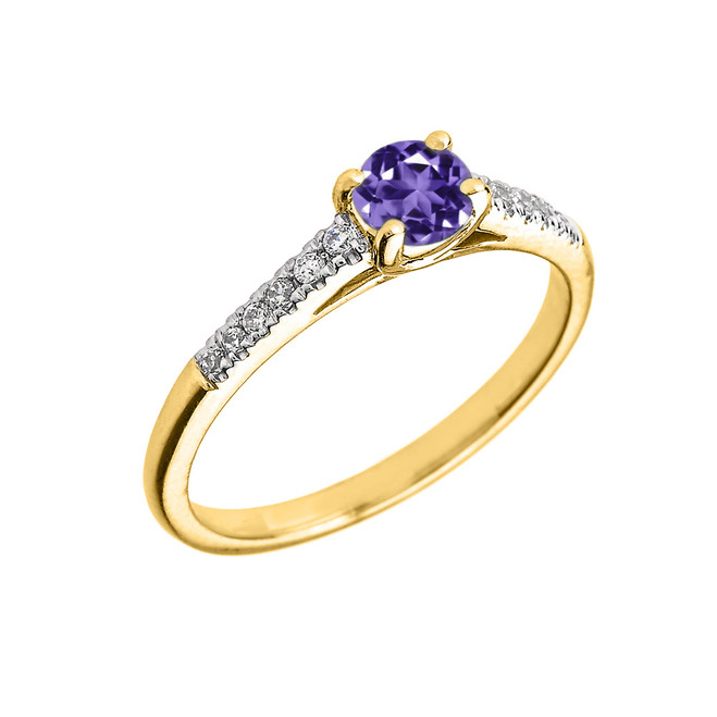 Yellow Gold Diamond and Amethyst Engagement Proposal Ring