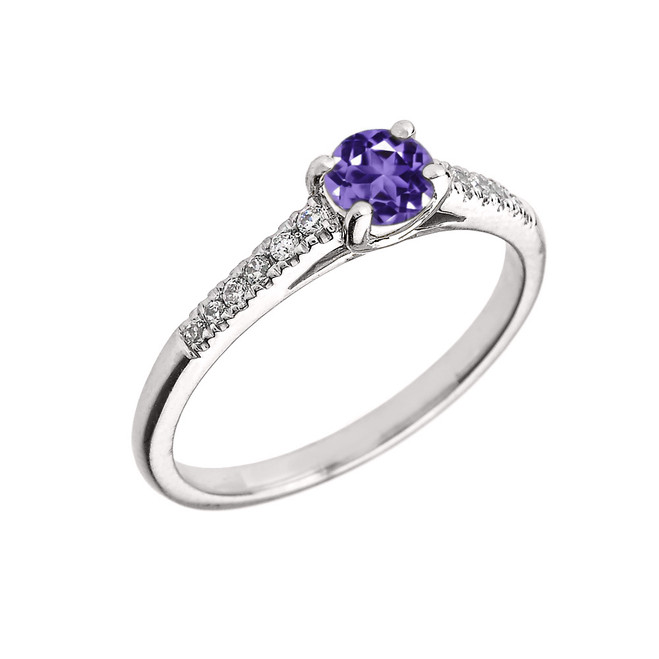 White Gold Diamond and Amethyst Engagement Proposal Ring