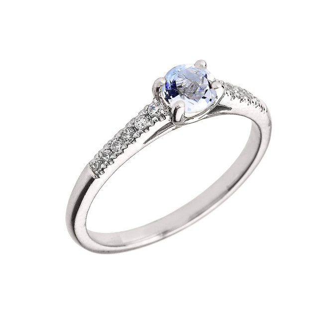 White Gold Diamond and Aquamarine Engagement Proposal Ring