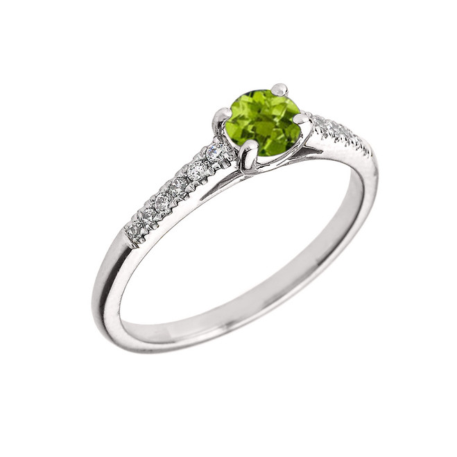 White Gold Diamond and Peridot Engagement Proposal Ring