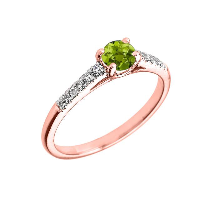 Rose Gold Diamond and Peridot Engagement Proposal Ring