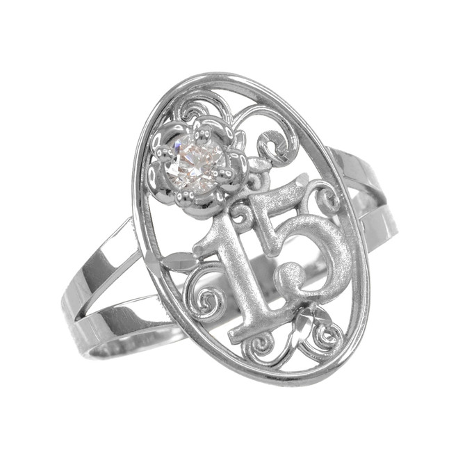White Gold Quinceanera 15 Anos CZ Oval Ring