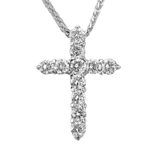 14k White Gold Round Diamond Cross Pendant Necklace