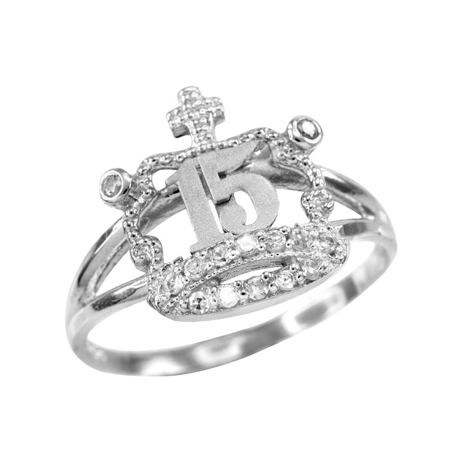 White Gold Quinceanera 15 Anos CZ Crown Ring