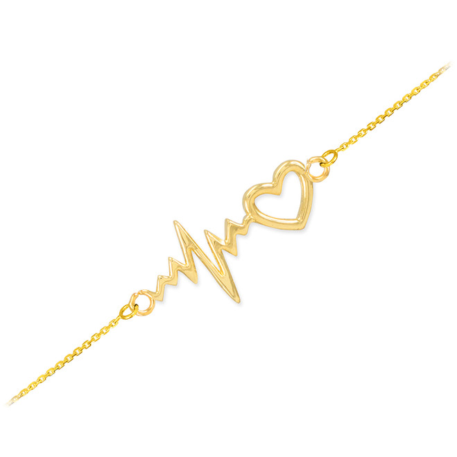 14k Yellow Gold Heartbeat Bracelet