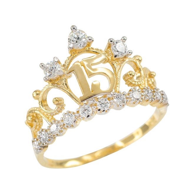 Yellow Gold Quinceanera 15 Anos Crown CZ Ring