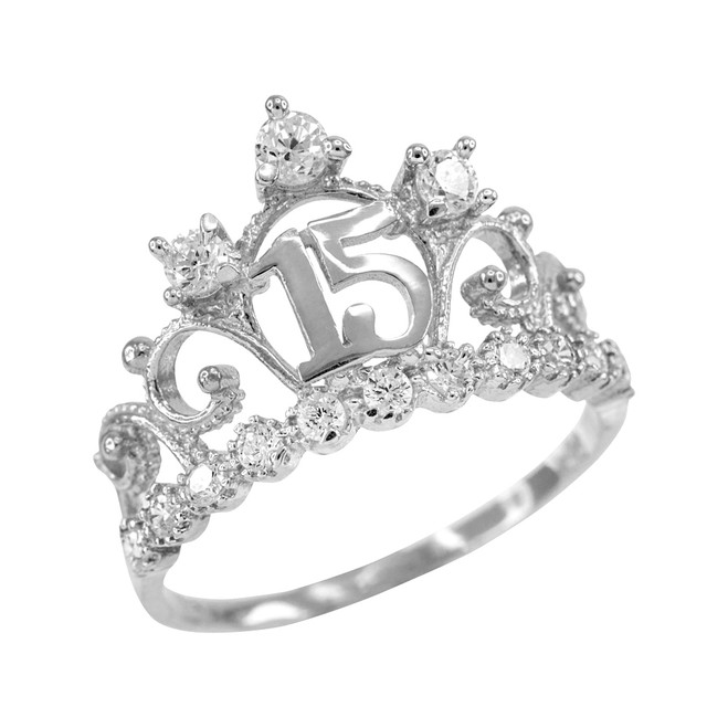 f3423953d ... clearance white gold quinceanera 15 anos crown cz ring 25417 bc078