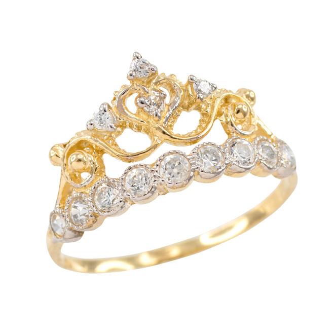 Yellow Gold CZ Crown Ring