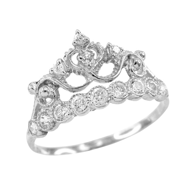White Gold  CZ Crown Ring
